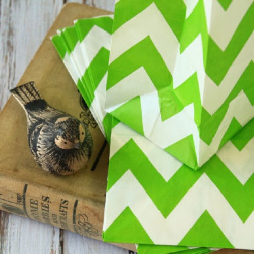 abcJoy chevron πράσινες χάρτινες σακούλες-stand up bags (25-pack)