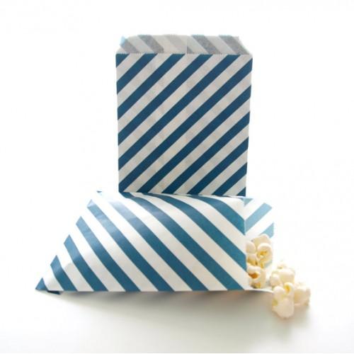 abcJoy ριγέ πετρόλ σακουλάκια χάρτινα (25-pack)
