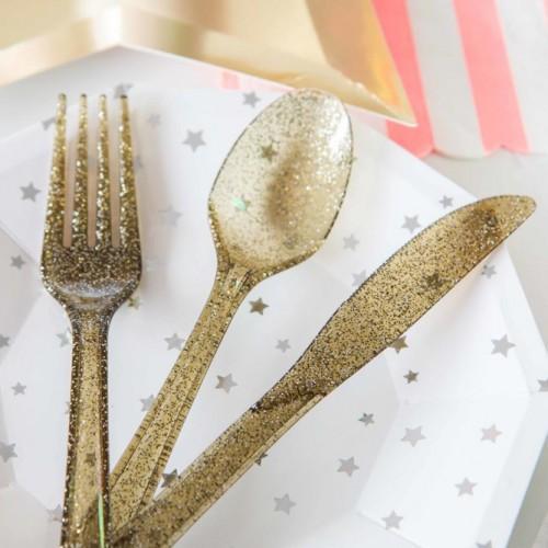 Σετ χρυσά glitter μαχαιροπίρουνα  (24-pack)
