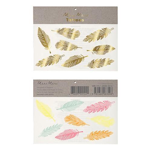 Τατουάζ  Χρυσά Και Χρωματιστά Neon Φτερά- Gold And Neon Feather Tattoos Meri Meri