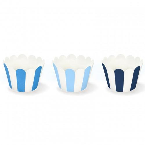 Χάρτινες Θήκες Αποχρώσεις Του Μπλε Cupcake Wrappers PartyDeco