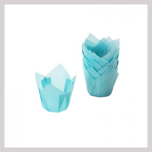 Καραμελόχαρτα Γαλάζια Σχήμα Τουλίπας (24-Pack)