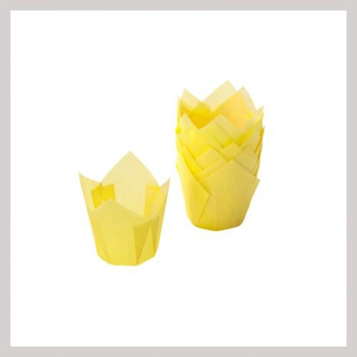 Καραμελόχαρτα Κίτρινα Σχήμα Τουλίπας (24-Pack)