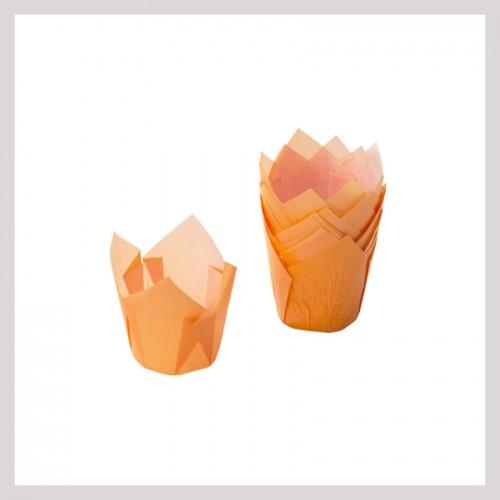 Καραμελόχαρτα Πορτοκαλί Σχήμα Τουλίπας (24-Pack)