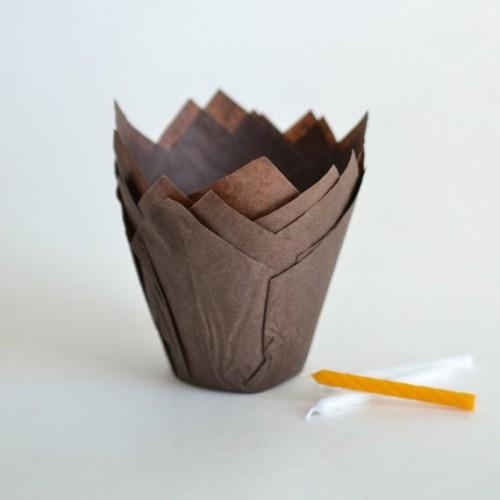 Καραμελόχαρτα Καφέ Σχήμα Τουλίπας (24-Pack)