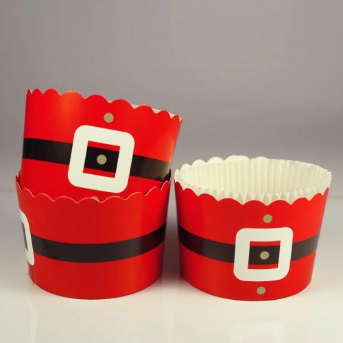 Χριστουγεννιάτικες Θήκες Για Cupcakes Άγιος Βασίλης Με Λευκό Καραμελόχαρτο