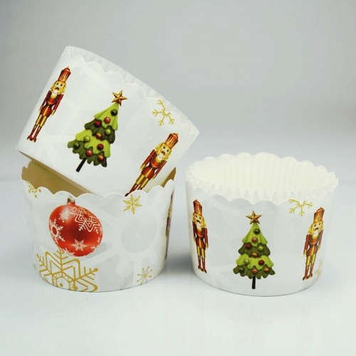 Χριστουγεννιάτικες Θήκες Για Cupcakes Καρυοθραύστης Με Λευκό Καραμελόχαρτο