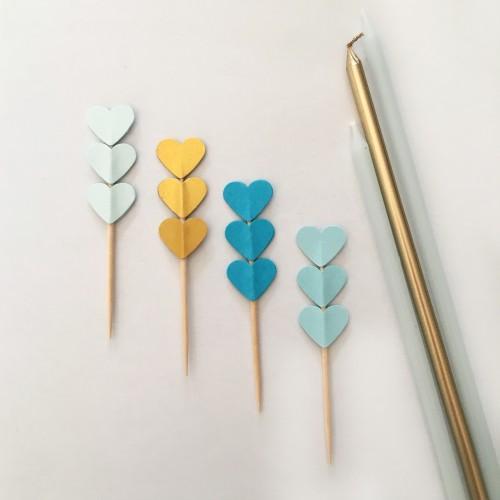 Cupcake Toppers Τριπλές Καρδιές Σε Χρυσές Και Γαλάζιες Ανταύγειες-Hand Made by Ministry Of Art 8pcs