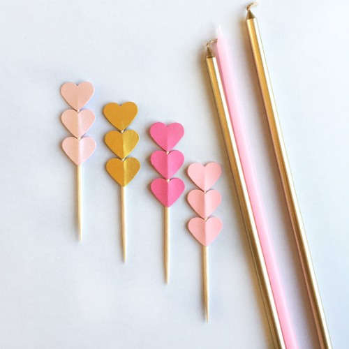 Cupcake Toppers Τριπλές Καρδιές Σε Χρυσές Και Ροζ Ανταύγειες-Hand Made by Ministry Of Art 8pcs