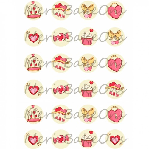 Βρώσιμο Φύλλο Για Mαρεγκάκια Ροζ Καρδιές Meri BakeOns