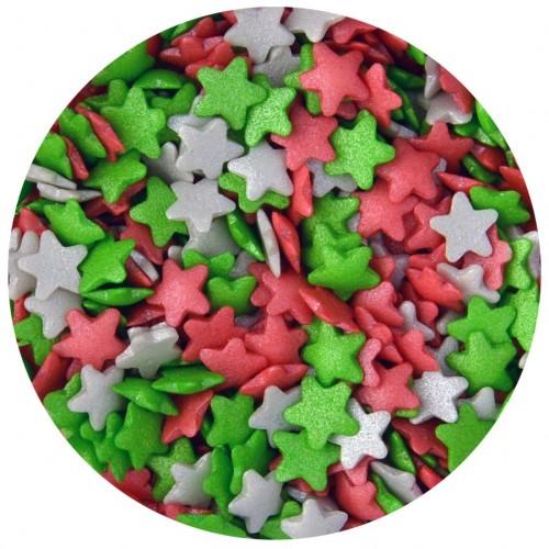 Τρίχρωμα Περλέ Αστέρια Κόκκινα Ασημί Πράσινα 60gr