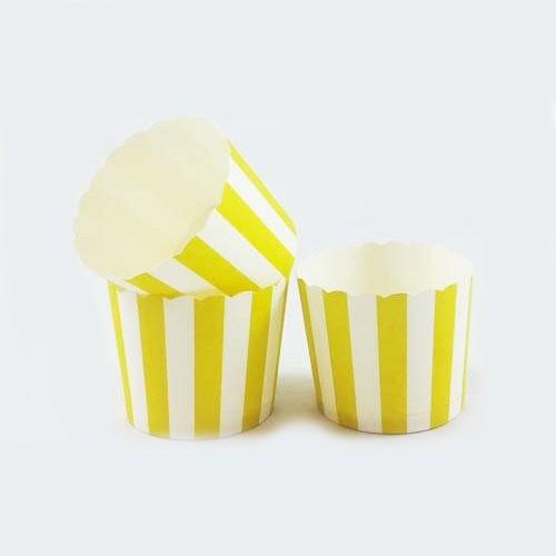Θήκες Για Cupcakes Ριγέ Κίτρινο 25pcs