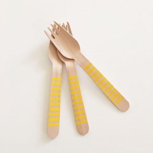 abcJoy κίτρινα ριγέ ξύλινα πιρουνάκια  (12-pack)