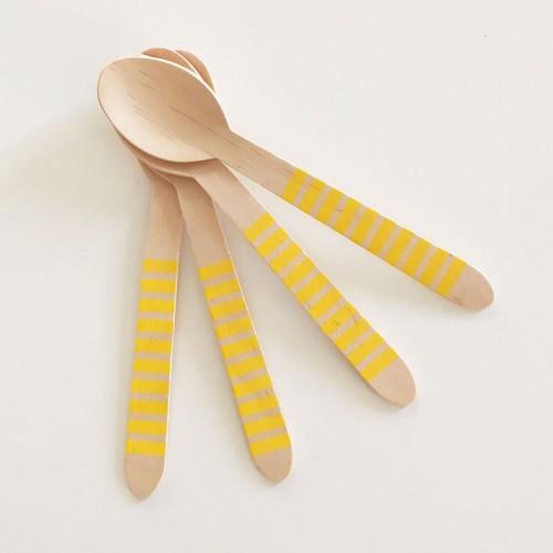 abcJoy κίτρινα ριγέ ξύλινα κουταλάκια  (12-pack)
