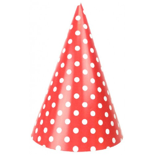 abcJoy κόκκινα πουά χάρτινα καπέλα (6-pack)