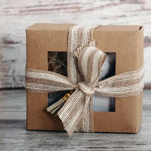 Κραφτ Κουτί Με Παράθυρο Για Μπισκότα Και Γλυκά 13x12cm