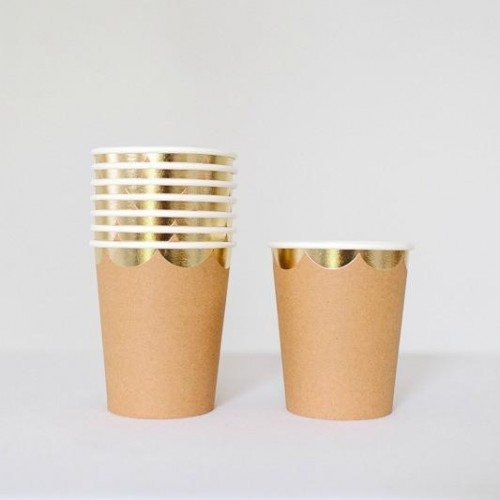 Χάρτινα Ποτήρια Κραφτ Με Χρυσό Meri Meri 8pcs