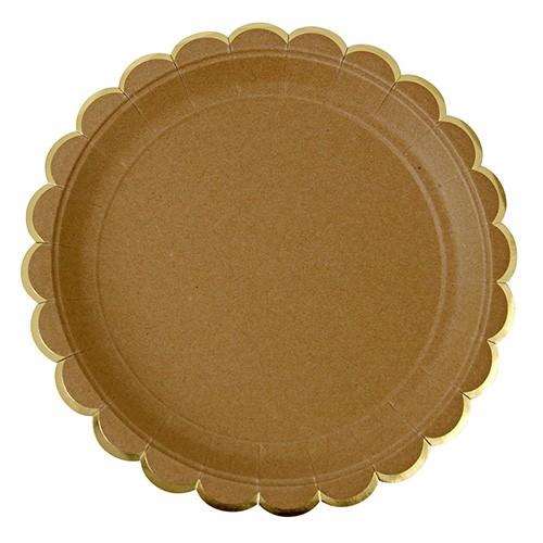 Στρογγυλά Πιάτα Φαγητού Κραφτ Με Χρυσό (8pcs)