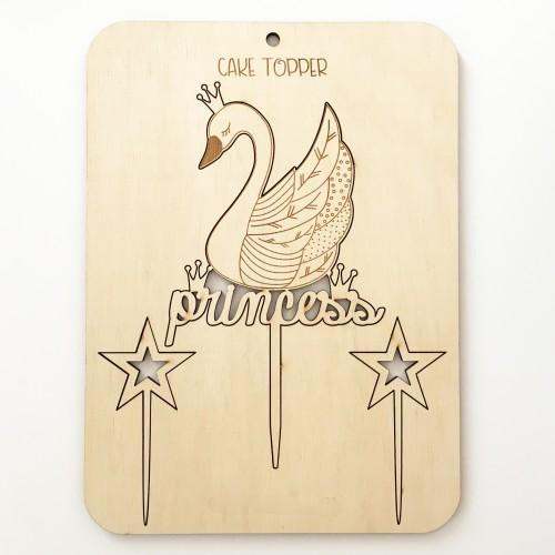 Σετ Cake Topper Swan Princess  Με Αστέρια - Τόπερ Τούρτας Πριγκίπισσα Κύκνος