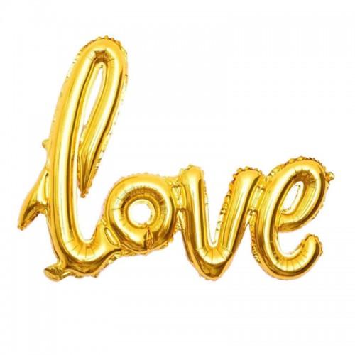 Μεταλλικό Χρυσό Μπαλόνι Love