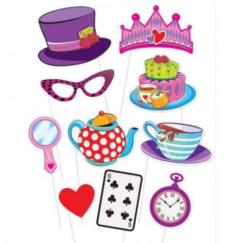 Photo Booth Kit  Mad Hatter Tea Party 10 party props-Unique