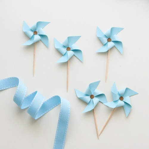 Cupcake Toppers-Γαλάζιοι Ανεμόμυλοι-Hand Made by Ministry Of Art (6pcs)