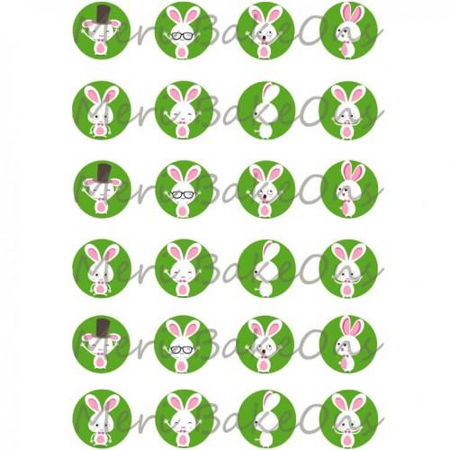 Βρώσιμο Φύλλο Για Mαρεγκάκια Λαγοί Σε Πράσινο Φόντο Meri BakeOns