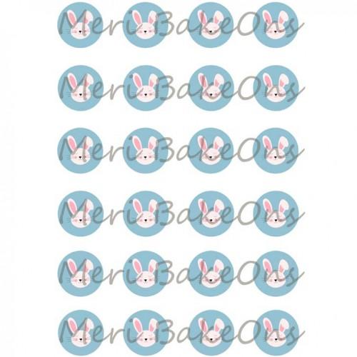 Βρώσιμο Φύλλο Για Mαρεγκάκια Λαγοί Σε Γαλάζιο Φόντο Meri BakeOns
