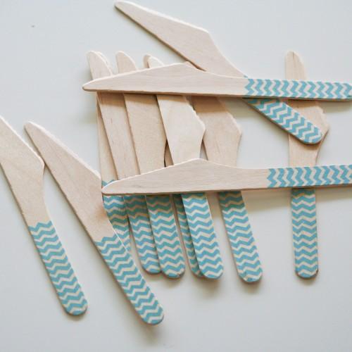 abcJoy γαλάζια chevron ξύλινα μαχαιράκια  (12-pack)
