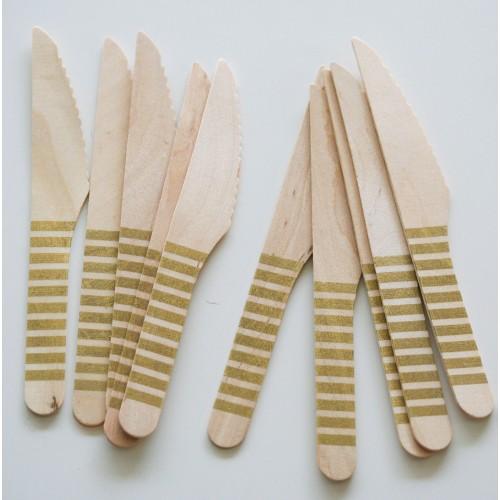 abcJoy χρυσά ριγέ ξύλινα μαχαιράκια  (12-pack)
