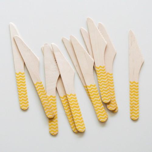 abcJoy κίτρινα chevron ξύλινα μαχαιράκια  (12-pack)