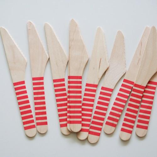 abcJoy κόκκινα ριγέ ξύλινα μαχαιράκια (12-pack)