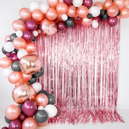 Μεταλλική Κουρτίνα Διακόσμησης Ροζ Χρυσό PartyDeco
