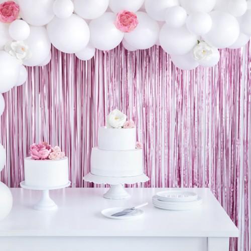 Μεταλλική Κουρτίνα Διακόσμησης Ροζ Ιριδίζουσα PartyDeco