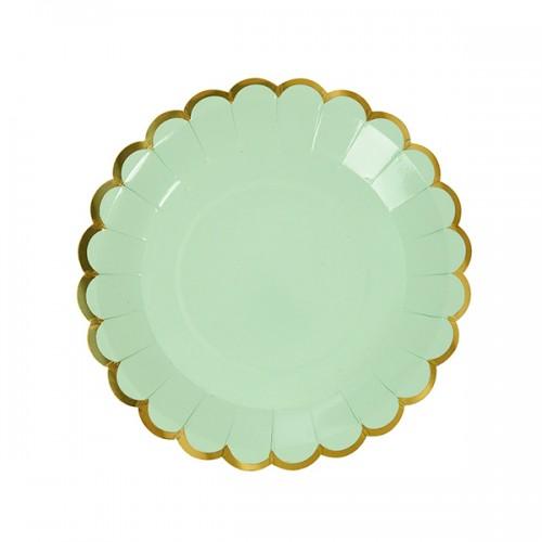 Στρογγυλά Πιάτα Γλυκού Μέντα Με Χρυσό (8pcs)