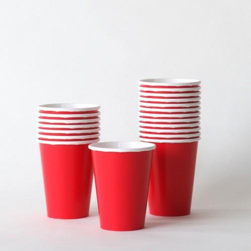 Μονόχρωμα Κόκκινα Χάρτινα Ποτήρια 14pcs Unique