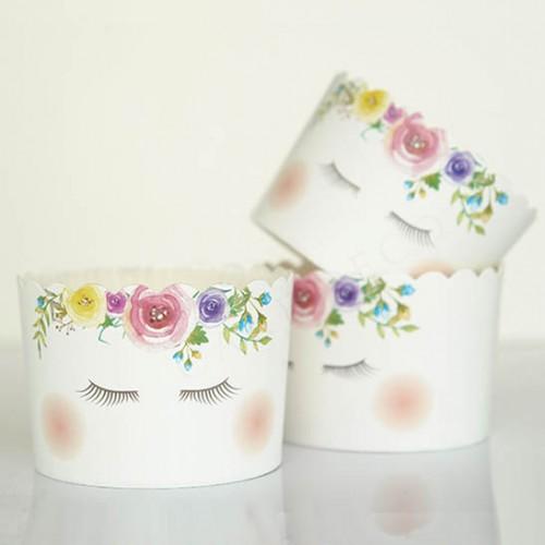 Θήκες Για Cupcakes Μονόκερος Με Λευκό Καραμελόχαρτο