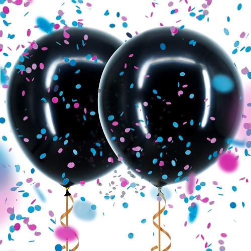 Μαύρο Μπαλόνι Αποκάλυψης Φύλου Με Ροζ & Γαλάζιο Κομφετί