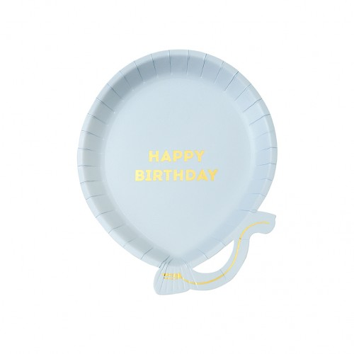 Πιάτα Γλυκού Μπαλόνια Γαλάζια Με Χρυσό We ♥ Birthdays Blue Balloon Talking Tables