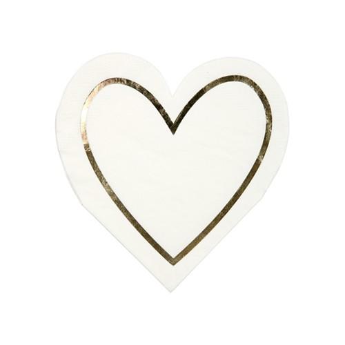 Χαρτοπετσέτες Καρδιά με Χρυσό Περίγραμμα -Heart Napkins Meri Meri