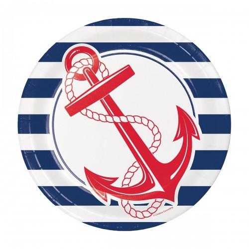 Πιάτα Φαγητού Ναυτικό Θέμα Άγκυρα Nautical Anchor 8pack