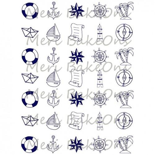 Βρώσιμο Φύλλο Για Mαρεγκάκια Ναυτικά Σχέδια Meri BakeOns