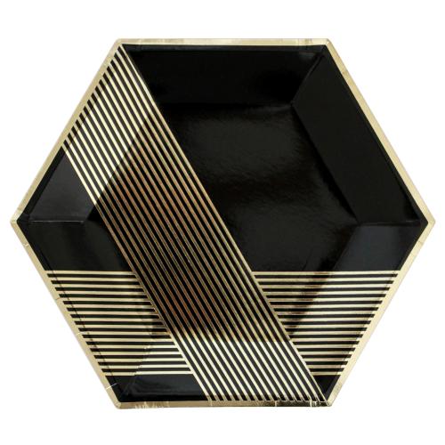 Χάρτινα Εξάγωνα Πιάτα Σε Μαύρο Και Χρυσό Foil-Noir By Harlow & Grey