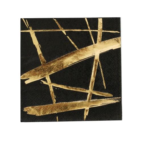 Χαρτοπετσέτα Σε Μαύρο Και Χρυσό Foil-Brush Strokes Napkins-Noir By Harlow & Grey