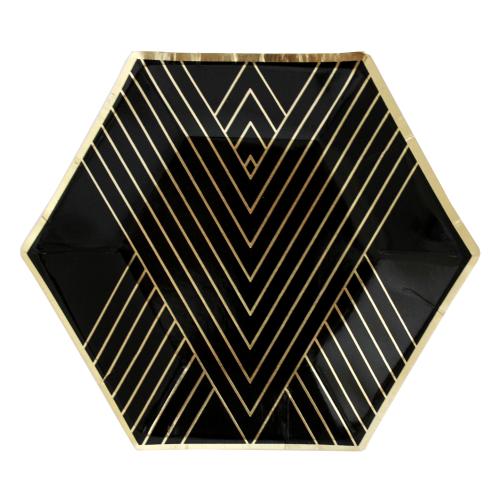Χάρτινα Εξάγωνα Πιάτα Γλυκού Σε Μαύρο Και Χρυσό Foil-Noir By Harlow & Grey