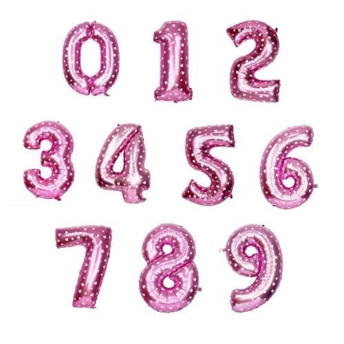Μπαλόνια Foil 16'' Ροζ με Λευκές Καρδιές-Επιλέξτε Αριθμό