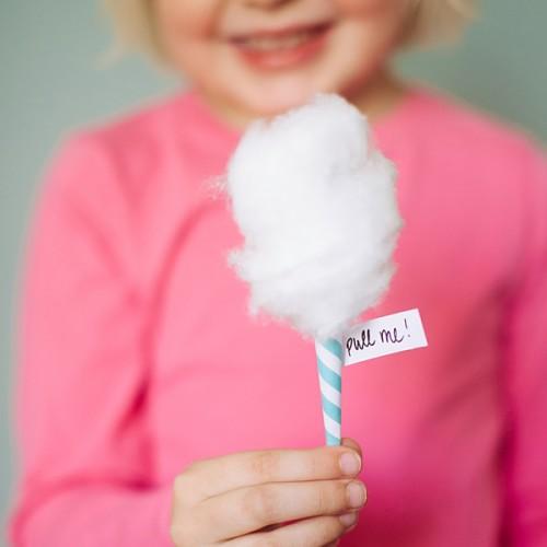 Cotton Candy Μαλλί της Γριάς Ροζ - Γαλάζιο - Λευκό Για Πάρτυ Και Events