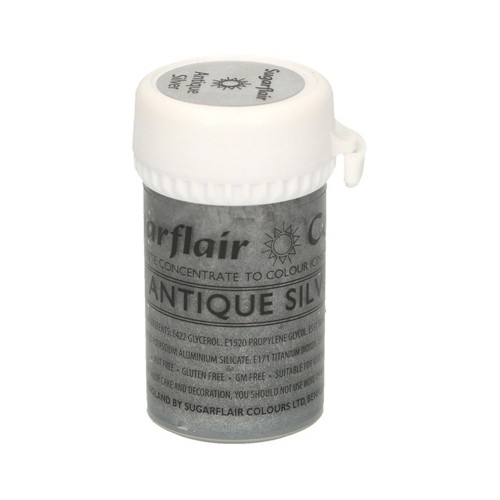 Παλαιωμένο Ασημί Σατινέ Συμπυκνωμένο Χρώμα Πάστας 25γρ της Sugarflair