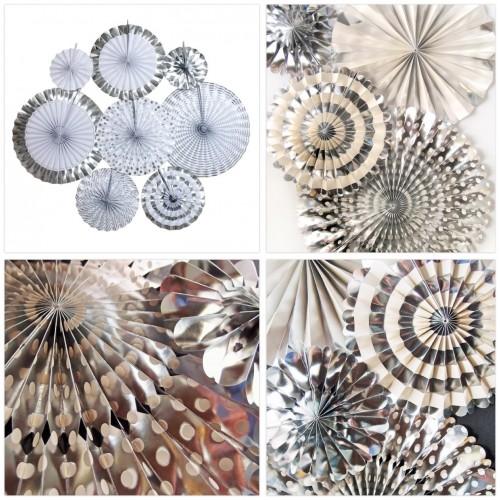 Paper Fan Set Silver Frozen-Μεταλλικές Ανταύγειες Ασημί