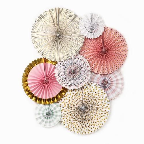 Paper Fan Set Princess Decoration - Ροζ Πριγκίπισσα | 8pcs
